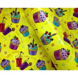 Wrapping Paper - 500mm x 60M - Happy Birthday Cup Cakes Yellow