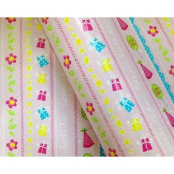 Wrapping Paper - 500mm x 60M - Happy Birthday Pink