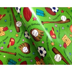 Wrapping Paper - 500mm x 60M - Happy Birthday Sports Green
