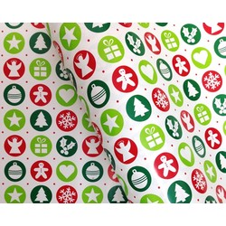 Counter Roll - 500mm x 60M - Christmas Green Red Dots