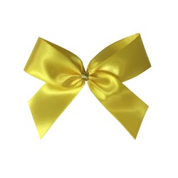 Satin Bow With Bottle Loop - 10cm - Yellow - 50pk