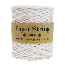 Paper Twine - 2mm x 100metres - White Paper String