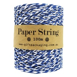 Paper Twine - 2mm x 100metres - Blue/White Paper String