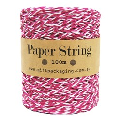 Paper Twine - 2mm x 100metres - Pink/White Paper String