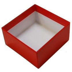 Rigid Box - No Lid - 115mm x 115mm x 60 - Red