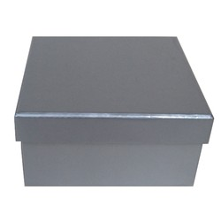 Square Rigid Gift Box - With Lid - 115mm x 115mm x 60mm - Silver