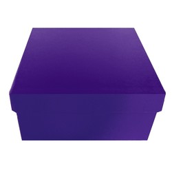 Square Rigid Gift Box - With Lid - 115mm x 115mm x 60mm - Purple