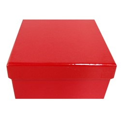 Square Rigid Gift Box - With Lid - 115mm x 115mm x 60mm - Red