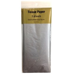 Tissue Paper - 3 sheet -Metallic Silver