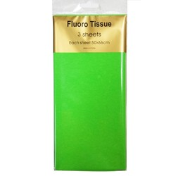 Tissue Paper Fluoro Neon - 3 sheet - Green