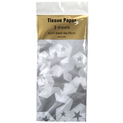 Tissue Paper Printed - 3 sheet - Silver Stars