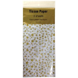 Tissue Paper Printed - 3 sheet - Gold Stars