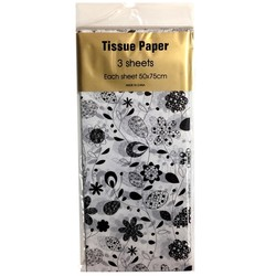 Tissue Paper Printed - 3 sheet - Retro Floral