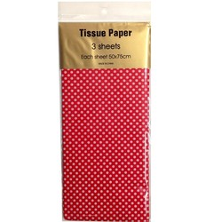 Tissue Paper Printed - 3 sheet - White Dots on Red