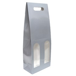 Premium Double Wine Bottle Gift Bags with Clear Window - Glossy Silver