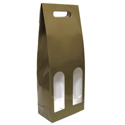 Premium Double Wine Bottle Gift Bags with Clear Window - Glossy Gold
