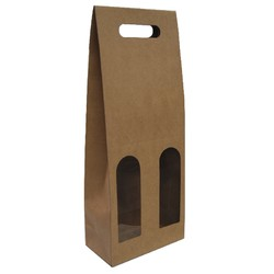 Premium Double Wine Bottle Gift Bags with Clear Window - Brown Kraft