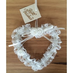 White Lace Outline Wedding Heart with Satin Flowers and Bow