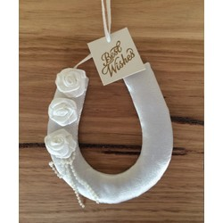 White Wedding Horse Shoe with 3 Satin Roses