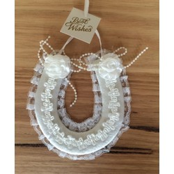White Satin Lace Wedding Horse Shoe with Embroidery