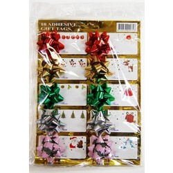 10 x Adhesive Christmas Gift Tags and Mini Bows