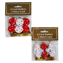 6pc Wooden Card Holder Clips  - Bauble and Tree Set Pack