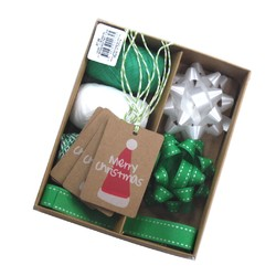 Christmas Gift Wrap Set - Green & White