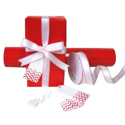 Pack Deal - Gloss Red Wrapping Paper, Grosgrain Ribbons, and Gift Tags