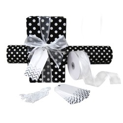 Pack Deal - Black Dots Wrapping Paper, Satin Edge Organza Ribbons, and Chevron Gift Tags
