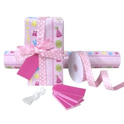 Pack Deal - Pink Happy Birthday Wrapping Paper, Grosgrain Ribbons, and Gift Tags