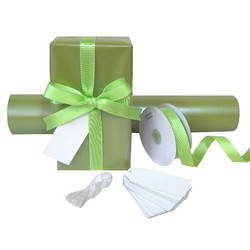 Pack Deal - Pearl Moss Green Wrapping Paper, Grosgrain Ribbons, and Gift Tags
