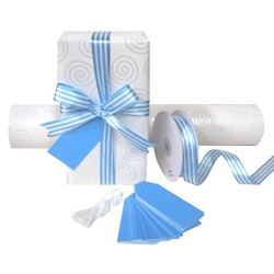 Pack Deal - Silver Swirl Wrapping Paper, Blue Stripe Satin Ribbon, and Gift Tags