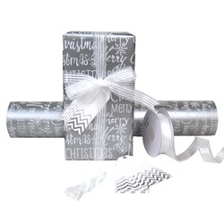 Pack Deal - Xmas Silver Wrapping Paper, Organza Ribbons, and Chevron Gift Tags