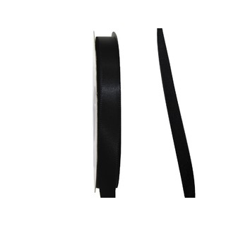 Satin Ribbon - Woven Edge -10mm x 30m - Black