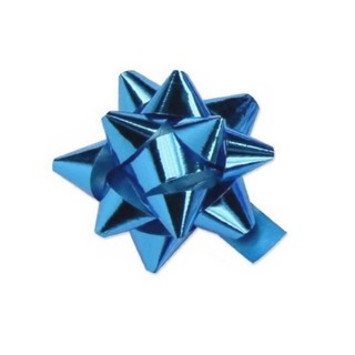 Star Bows - 6.5cm - Metallic Light Blue
