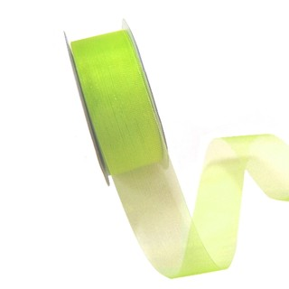 Sheer Organza Cut Edge Ribbon - 25mm x 50m - Lime Green