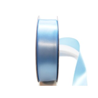 Satin Ribbon - Woven Edge -25mm x 30m - Light Blue