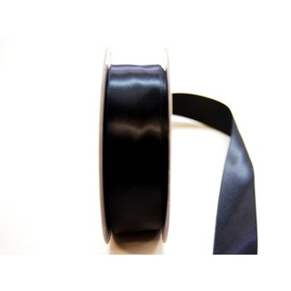 Satin Ribbon - Woven Edge -25mm x 30m - Black