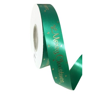 Printed Florist Tear Ribbon - 30mm x 45M - Green with Gold Merry Christmas