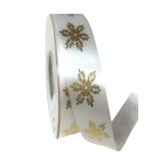 Printed Florist Tear Ribbon - 30mm x 45M - White with Gold Snowflakes