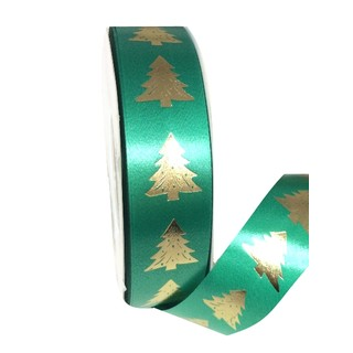 Printed Florist Tear Ribbon - 30mm x 45M - Green with Gold Trees