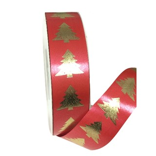 Printed Florist Tear Ribbon - 30mm x 45M - Red with Gold Trees