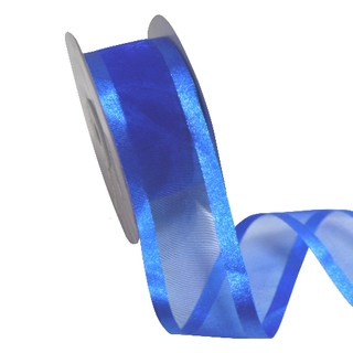 Sheer Organza Satin Edge Ribbon - 38mm x 25m - Royal Blue