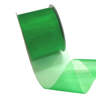 Sheer Organza Cut Edge Ribbon - 50mm x 25m - Emerald Green