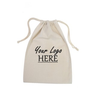 Custom Printed Calico Bags 25cm x 35cm with drawstrings - Your Logo with 1 Colour, 1 side