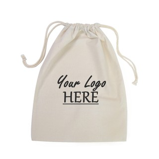 Custom Printed Calico Bags 30cm x 40cm with drawstrings - Your Logo with 1 Colour, 1 side