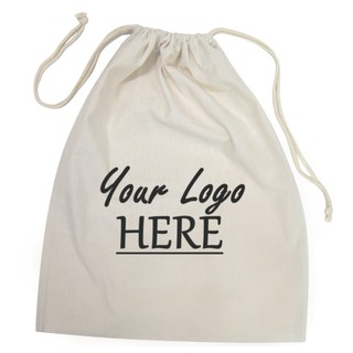 Custom Printed Calico Bags 40cm x 50cm with drawstrings - Your Logo with 1 Colour, 1 side