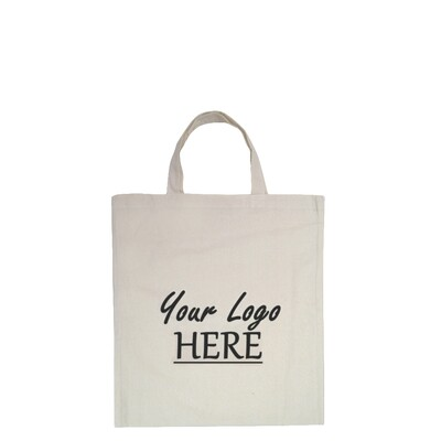 Custom Printed Calico Bags 37cm x 42cm with two short handles - Your Logo with 1 Colour, 1 side