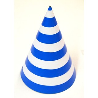 6 x Paper Party Hats Pk - Blue Stripes