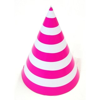 6 x Paper Party Hats Pk - Hot Pink Stripes